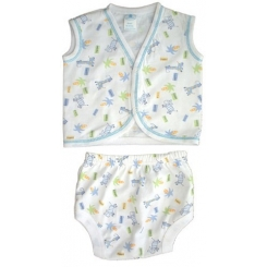 Jersey Print Diaper Shirt with Training Pants Set