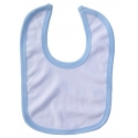 2-Ply Interlock White with Blue Trim Infant Bib - 1023B