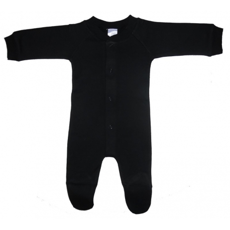 Interlock Black Closed-Toe Sleep & Play Long Johns