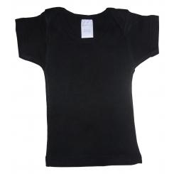 Rib Knit Black Short Sleeve Lap T-Shirt - 055BL