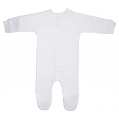 Interlock White Closed-Toe Sleep & Play Long Johns - 515D