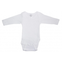 Rib Knit White Long Sleeve Onezie