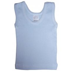 Blue Rib Knit Sleeveless Tank Top Shirt - 035B