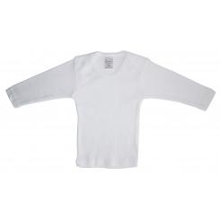 Rib Knit White Long Sleeve Lap T-Shirt - 050B