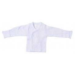 Rib Knit White Long Sleeve Side-Snap Shirt - 071B