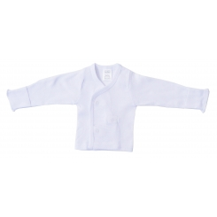 Preemie Rib Knit White Long Sleeve Side-Snap Shirt