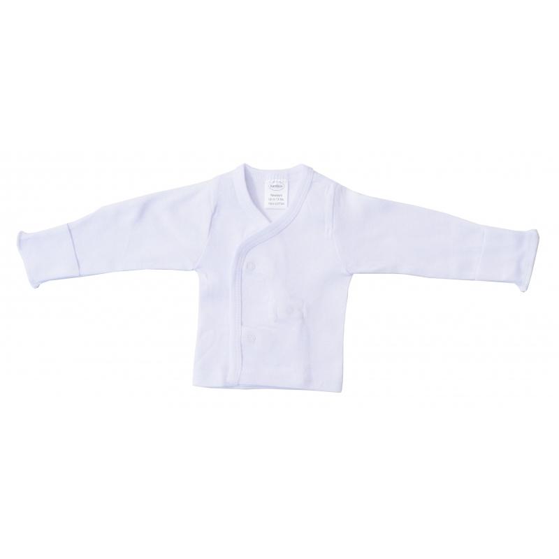 Preemie Rib Knit White Long Sleeve Side Snap Shirt