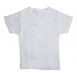 Rib Knit White Short Sleeve Side-Snap Shirt