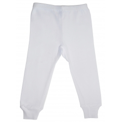 Rib Knit White Long Pants
