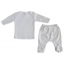 Interlock White Long Sleeve Lap T-Shirt & Closed-Toe Pants Set - 411