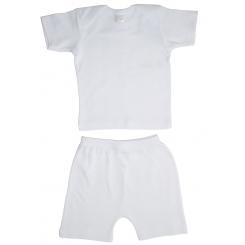 Interlock White Short Sleeve Lap T-Shirt & Shorts Set