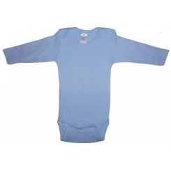 Rib Knit Blue Long Sleeve Onezie - 100B