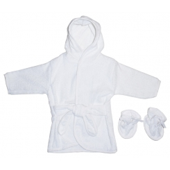 Terry Hooded Bath Robe White with White Trim