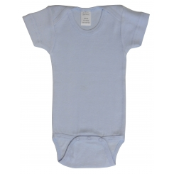 Rib Knit Blue Short Sleeve Onezie - 002BP