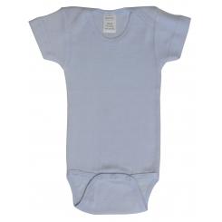 Preemie Rib Knit Blue Short Sleeve Onezie - 002B P
