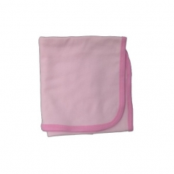 Two Color Interlock Pink Receiving Blanket - 3201P