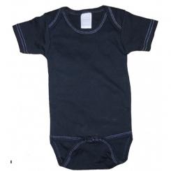 Black with White Stitching Interlock Short Sleeve Onezie