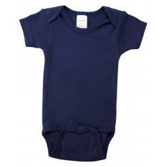 Navy Interlock Short Sleeve Bodysuit Onezies