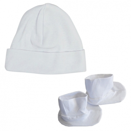 2-Ply Rib Knit White Beanie Cap & Booties Set - 029