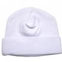 2-Ply Rib Knit White Beanie Cap - 031W